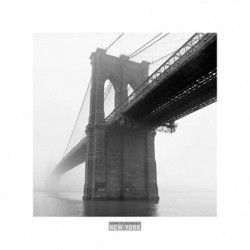 Affiche papier -  Brooklyn Bridge Fog  - Silberman  - 30x30