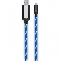 APM - Câble USB/Micro USB lumineux - LED Bleu 1 metre