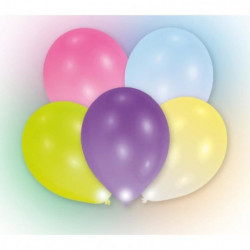 Lot de 5 Ballons avec LED - Latex - 27,5 cm - Coloris assort
