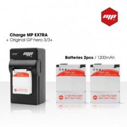 2 x batteries + chargeur pour GoPro hero 3+ et GoPro 3 - MP