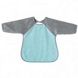 BABYCALIN Bavoir tablier 2eme âge - Bleu aqua et gris - 37 x