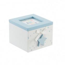 Boîte a bijoux enfant en bois et verre - 10x11x8 cm - Bleu