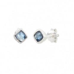 CLIO BLUE Boucles D'Oreilles Argent Et Quartz  Bleu - BO1637