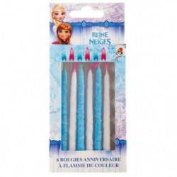DEVINEAU 6 bougies flamme de couleurs Reine des neiges