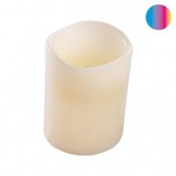 Bougie LED pilier en cire blanc - Ø 7,5 x H 12,5 cm - Variat