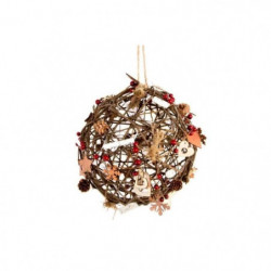 Boule de Noël lumineuse marron en rotin et en bois Ø 10 cm