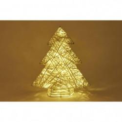 Déco lumineuse sapin 20 LED en rotin - H 40 x L 32 cm - Blan