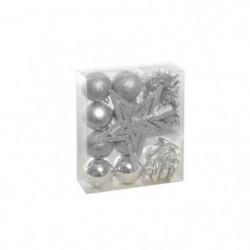 Set de 18 déco sapins - Argent avec boule - Ø 6 cm