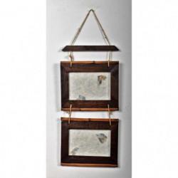 2 cadres bois en suspension - Tige en bambou - 18 x 20 cm