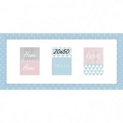 Cadre multivue - 3 vues - MDF - 20x50 cm - Bleu et blanc