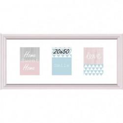 Cadre multivue - 3 vues - MDF - 40 x 50 cm - Blanc et rose