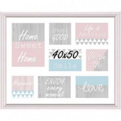 Cadre multivue - 8 vues - MDF - 40 x 50 cm - Blanc et rose