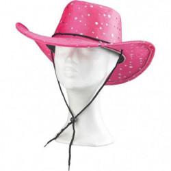 AMSCAN Chapeau Cowgirl pailleté - Rose