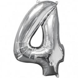 AMSCAN Ballon chiffre 4 - 51 x 66 cm - Argent