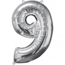 AMSCAN Ballon chiffre 9 - 51 x 66 cm - Argent