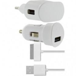 BBC mini chargeur allume-cigare 1A + câble IP - Blanc