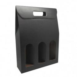 CLASSWINE Etui carton noir à fenetre pour 3 bouteilles