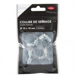 COGEX Collier de serrage acier zingue - ø 10 a 18 mm - 8 pcs