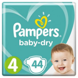 PAMPERS Baby Dry Taille 4 - 8 a 16 kg - 44 couches - Format
