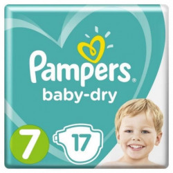 Pampers Baby-Dry Taille 7, 15+ kg, 17 Couches