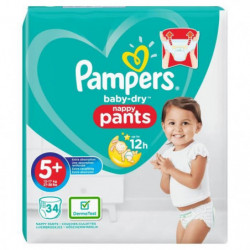 PAMPERS Baby Dry Pants Taille 5+, 12-17 kg, 34 couches culot