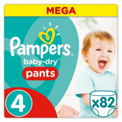 PAMPERS Baby Dry Pants Taille 4 - 9 a 15 kg - 82 Couches-cul