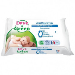 LOVE AND GREEN Lingettes sensitives x56