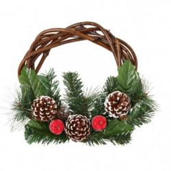 Décoration de Noël Couronne avec décors Pommes de pin et Pom