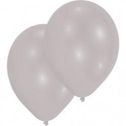 "AMSCAN Lot de 10 Ballons en latex 27,5 cm/11"" - Argent métal"