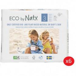 NATY - Lot de 6 paquets de couches Taille 3 Midi 4-9 kg 30 p