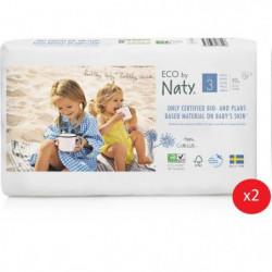 NATY - Lot de 2 paquets de couches Taille 3 Midi 4-9 kg 50 p