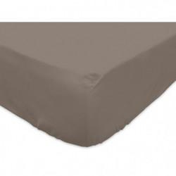 SOLEIL d'OCRE Drap housse 100% Coton 160x200 cm Taupe