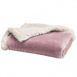 BABYCALIN Couverture bi- matiere Flanelle et Sherpa - Rose -