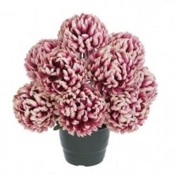 UNE FLEUR EN SOIE Pot de chrysanthemes boules vieux rose - 3