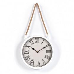 AUDREY Horloge suspendue 22 cm - Blanc  et corde