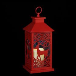 Lanterne de Noël a piles en plastique - 15 x 15 x 35 cm - Ro