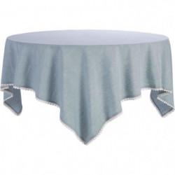 DEKOANDCO Nappe Chinny 100% coton 150x150 cm - Bleu