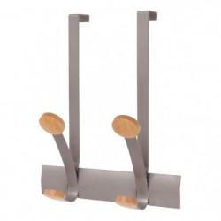 ALBA 2 bi-Pateres de Porte - Gris métal et bois clair - 37,4