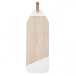 ECO DESIGN A1720 Planche a Tapas - Blanc et Cuir - 21x60x2cm