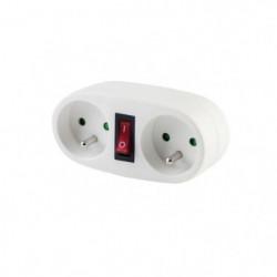 CHACON Prise biplite 2x16A avec interrupteur blanc