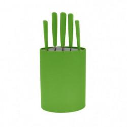 FRANDIS Bloc 5 couteaux - 17 x 7 x 35,7 cm - Vert