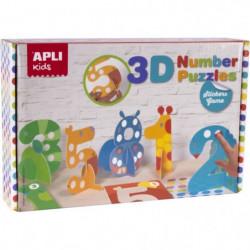 APLI Jeu de gommettes puzzle 3D numéros