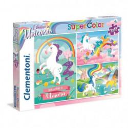 CLEMENTONI - Puzzle Licornes 3 x 48 Pieces Super Color