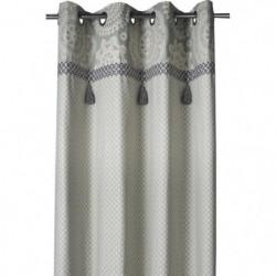 DEKOANDCO Rideau Dentelle - 135x250 cm - Imprimé gris