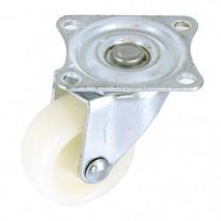 Roulette a platine pivotante - Ø 30 mm - Roue plastique - Bl