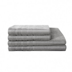 LOVELY HOME Lot de 4 pieces Eponge 100% Coton Gris Clair - 2
