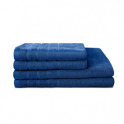 LOVELY HOME Lot de 4 pieces Eponge 100% Coton Bleu - 2 Servi