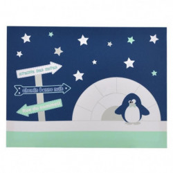DOMIVA Toile lumineuse scintillante Pingou - 40x30 cm