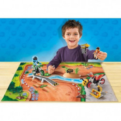PLAYMOBIL 9329 - Play Map - Pilotes motocross avec Support d
