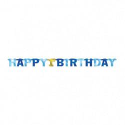 AMSCAN Guirlande lettres 1st Birthday Bleu 213 cm